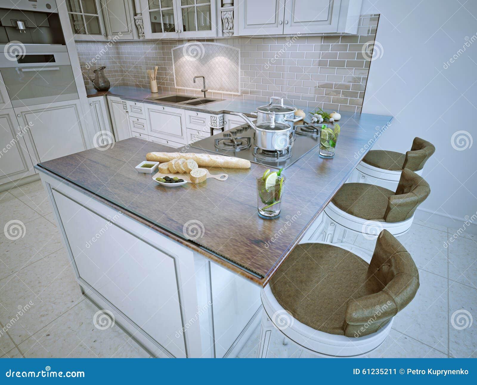 Stång i rikt klassiskt kök stock illustrationer   bild: 61235211
