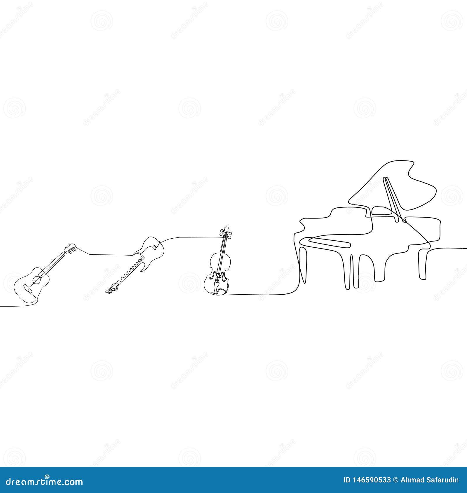 Stoß-Musikinstrument-Konzeptes Federzeichnung der einzelnen Zeile der Akustikgitarre eine der Klaviervioline ununterbrochene Lini