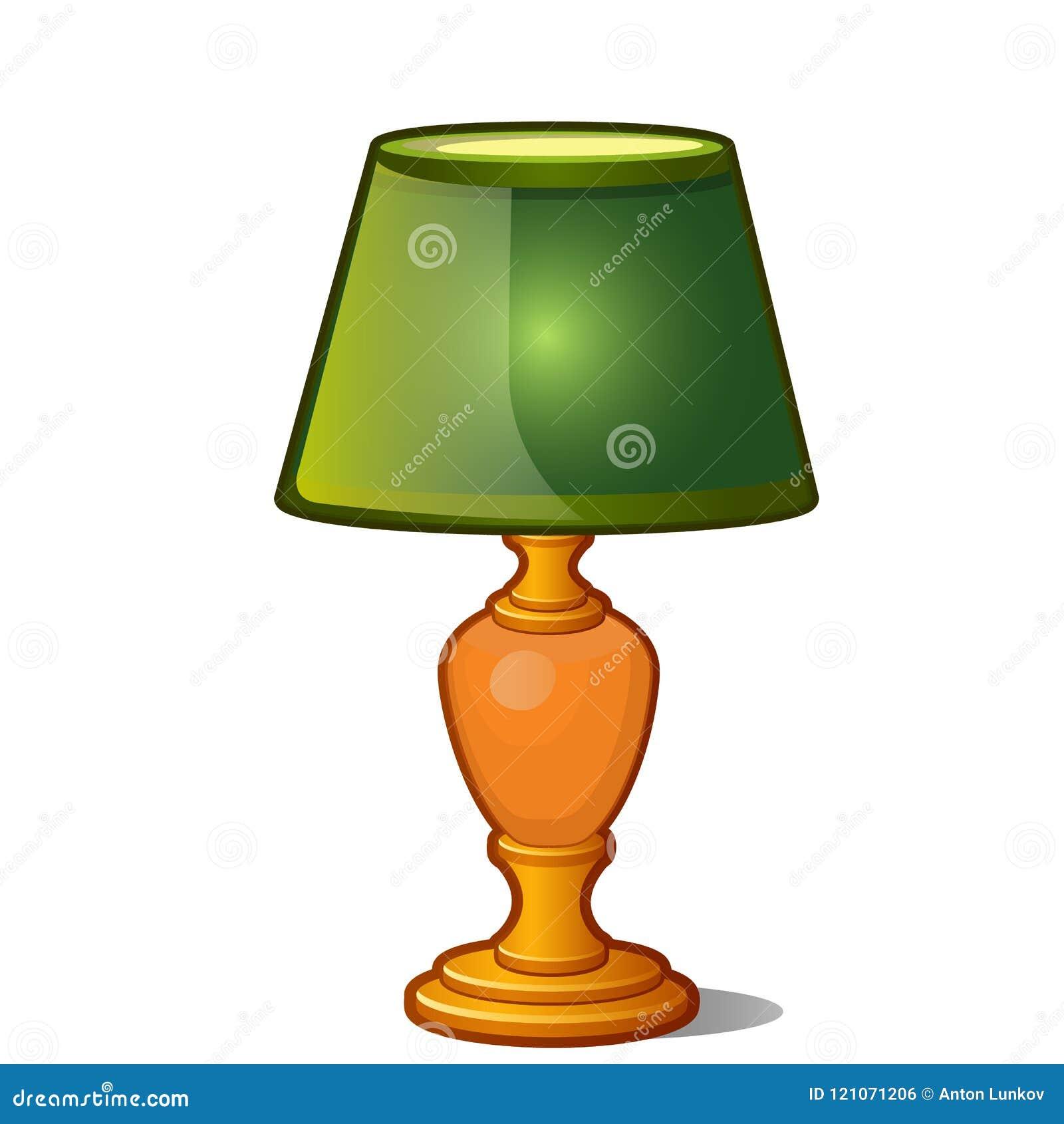 Stołowa lampa z zielonym cieniem w rocznika stylu odizolowywającym na białym tle również zwrócić corel ilustracji wektora