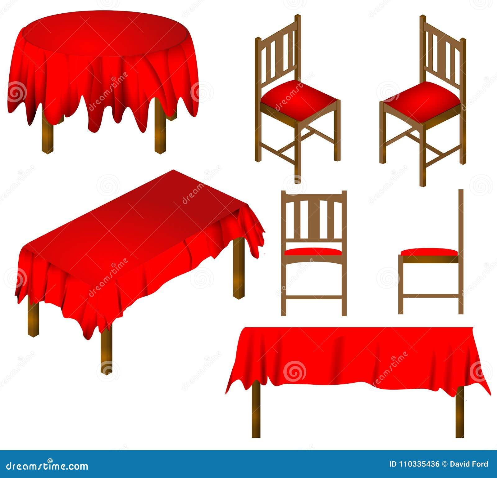 Stołowy i krzesła jadalni meble wektor