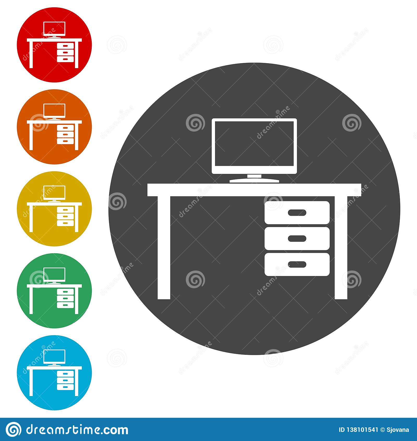Stołowy ikona wektor, biuro stołowa ikona