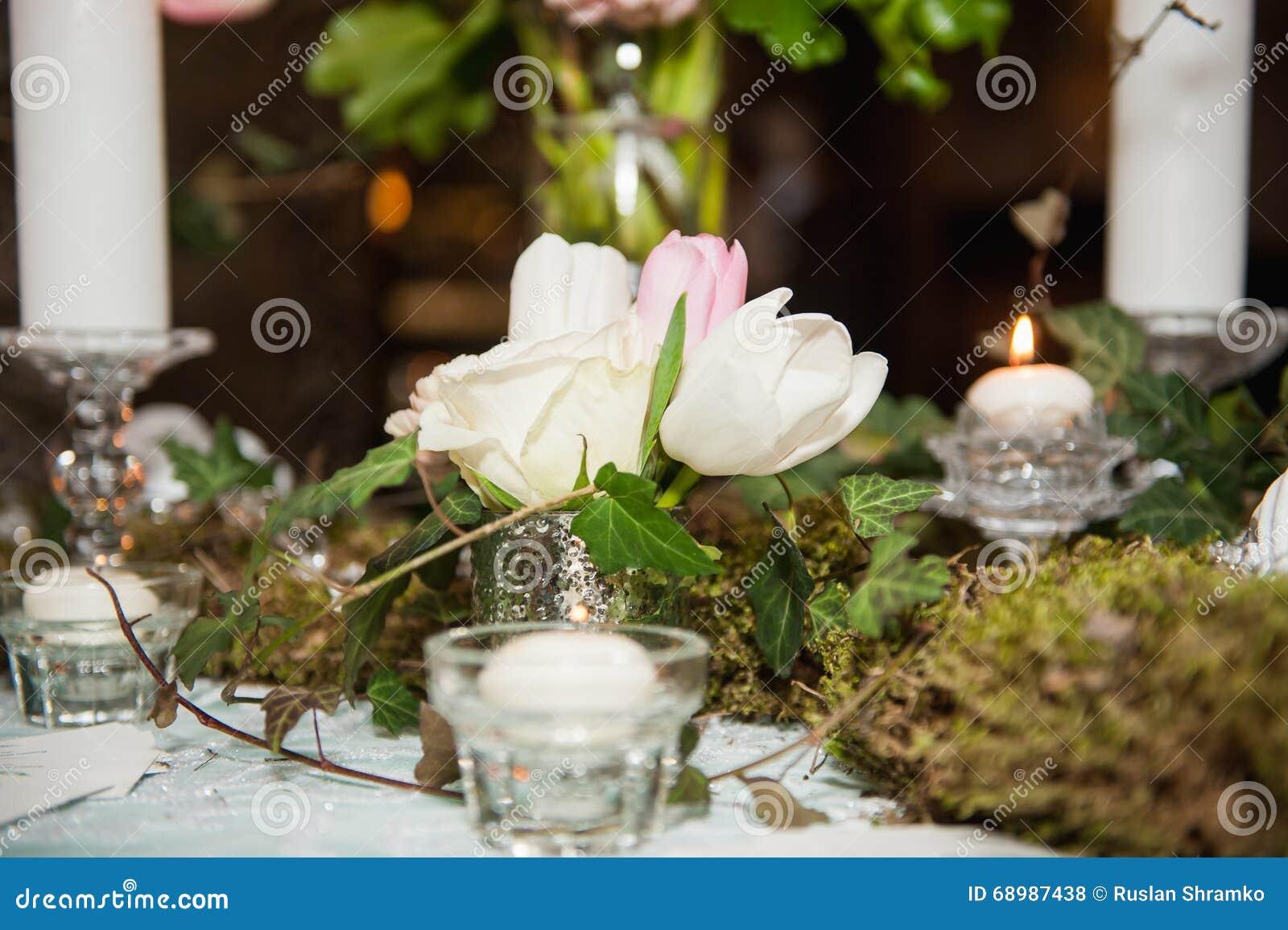 Stołowy położenie dla poślubiać lub wydarzenia