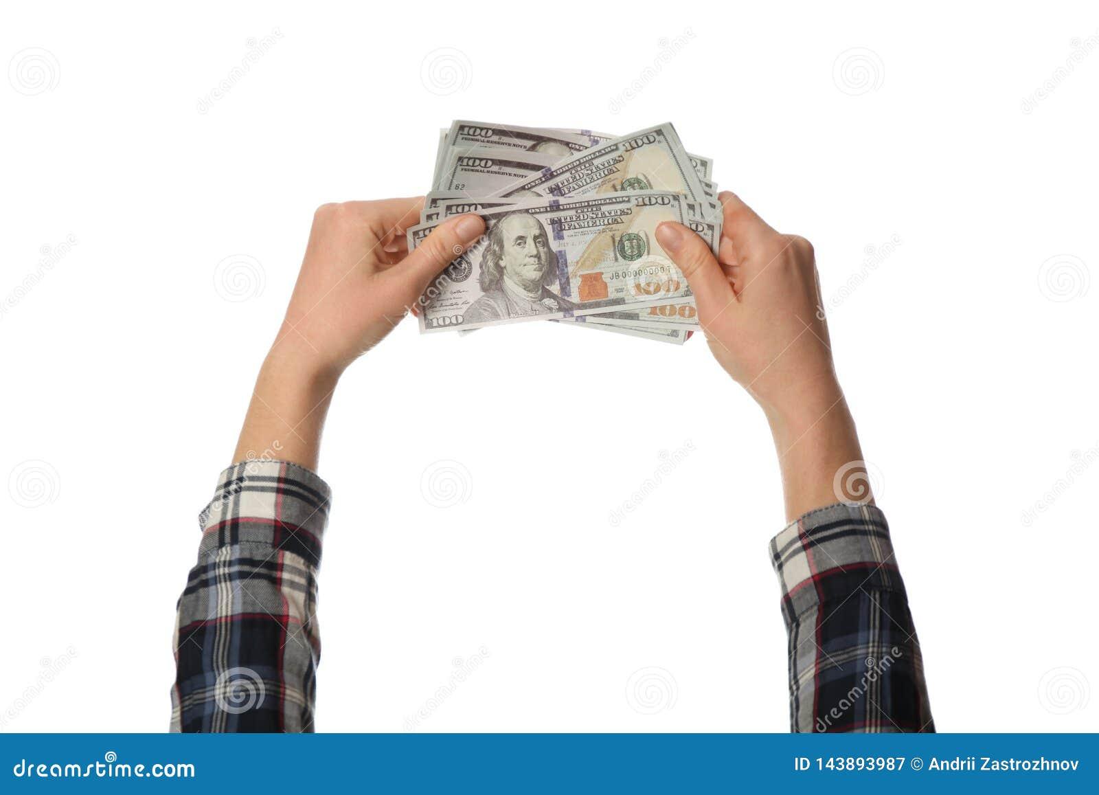 Sto dolarowych rachunków pieniędzy w ręce odizolowywającej na białym tle Dochód, zysk i oszczędzania,