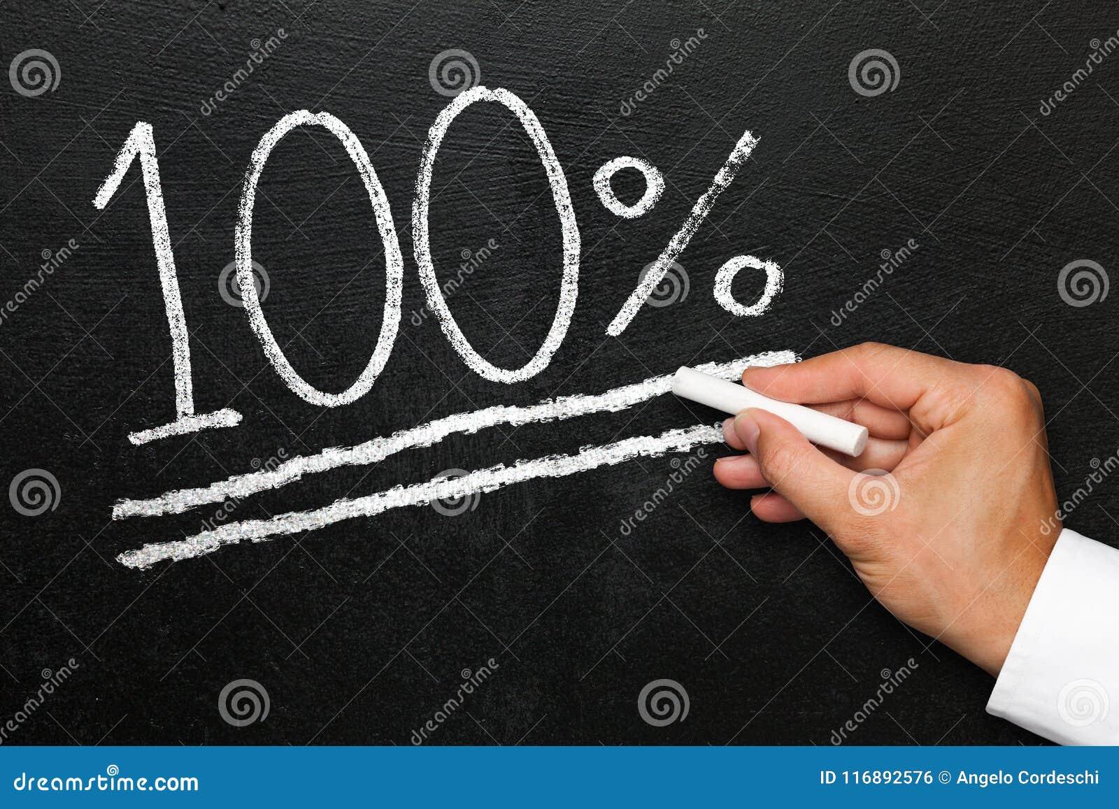 Sto procentów osiągnięcie cel na kredowym blackboard
