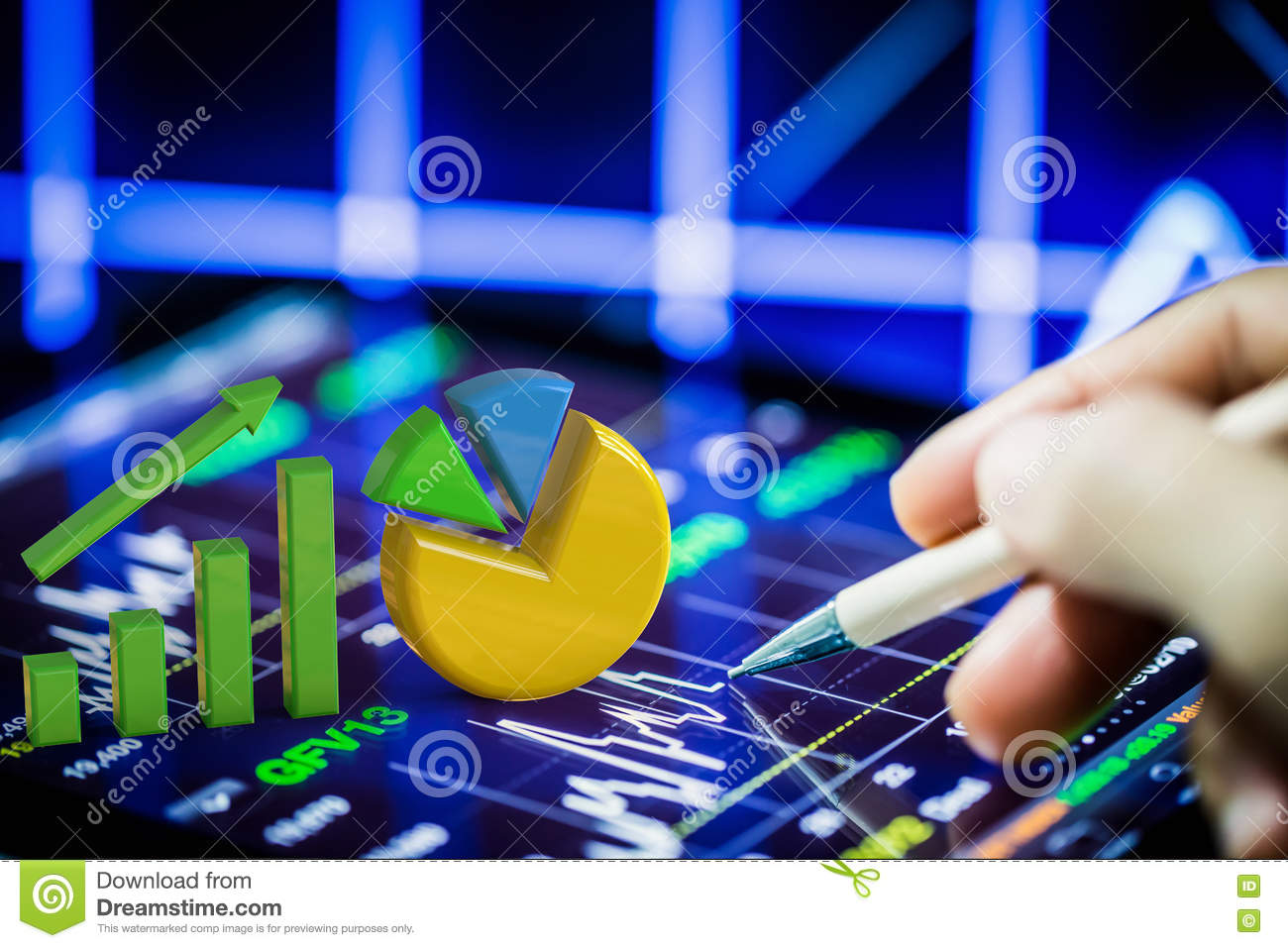 Stock analysis with growth graph and pie chart