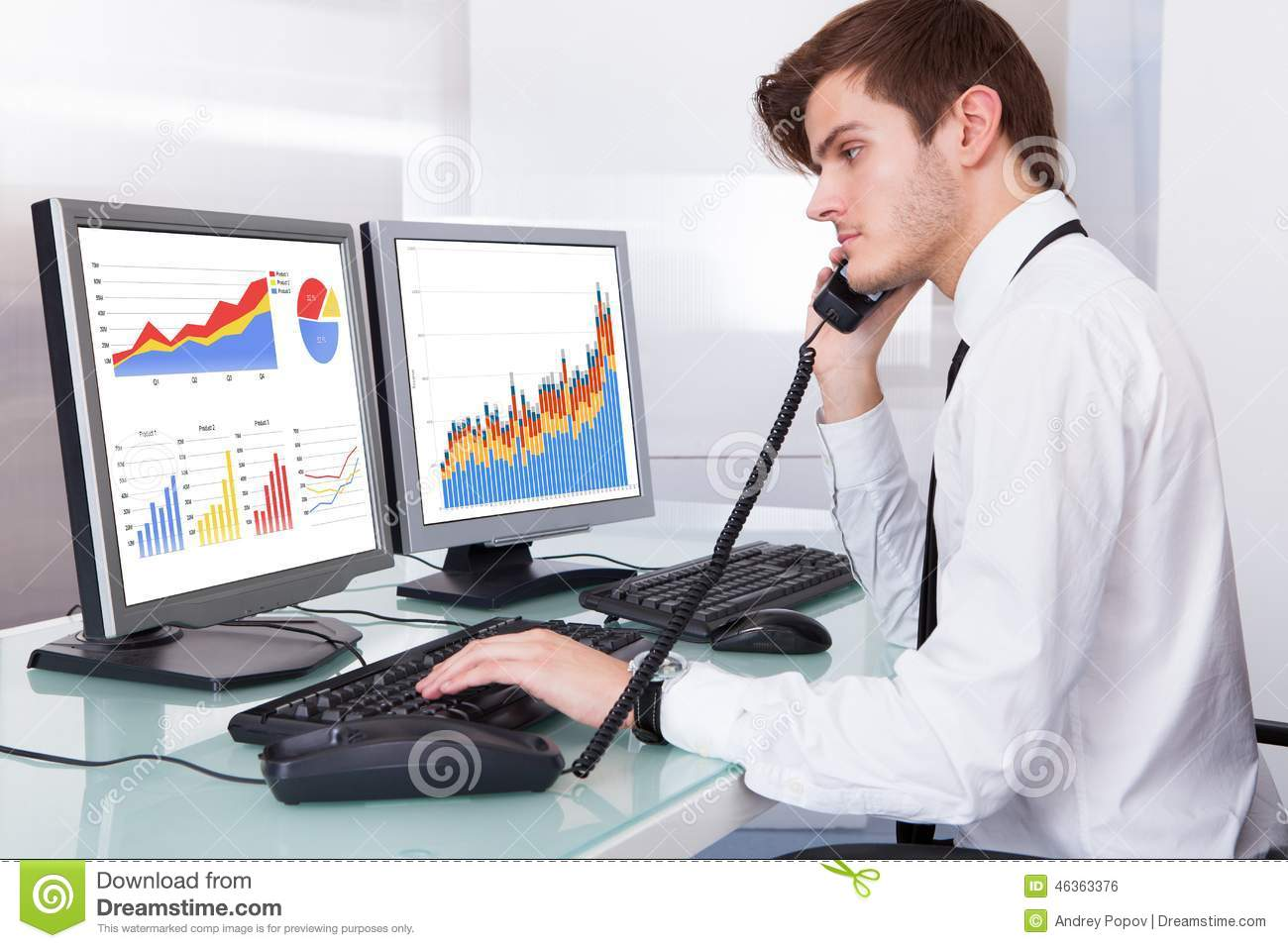 Stock broker working at office stock photo image 46363376 for Office photo