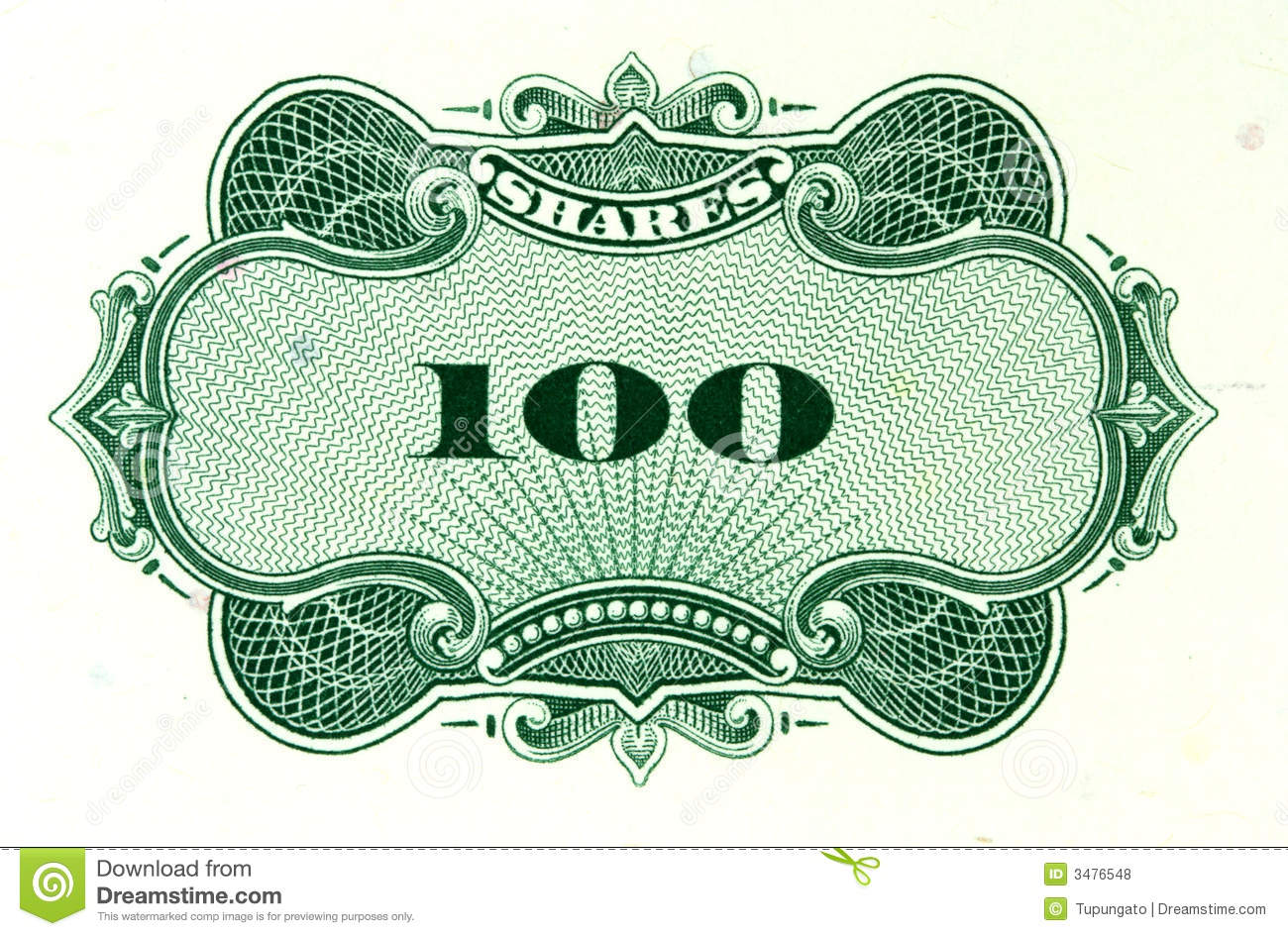 Green Shares Stock Certificate Stock Photo Image Of Document