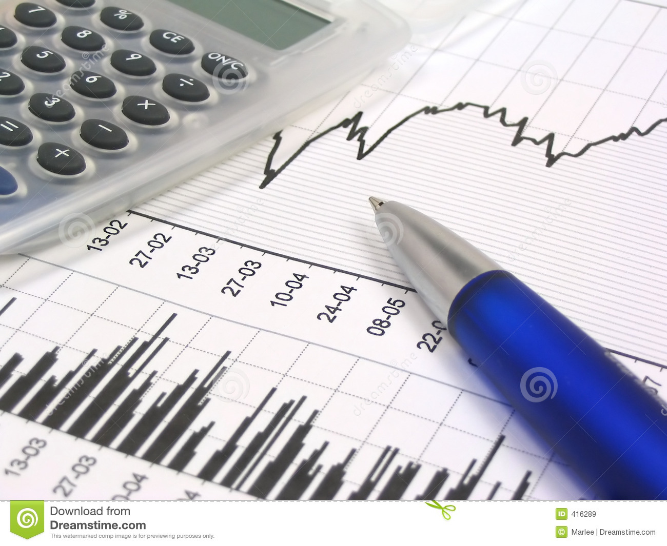 stock chart with calculator and pen royalty free stock