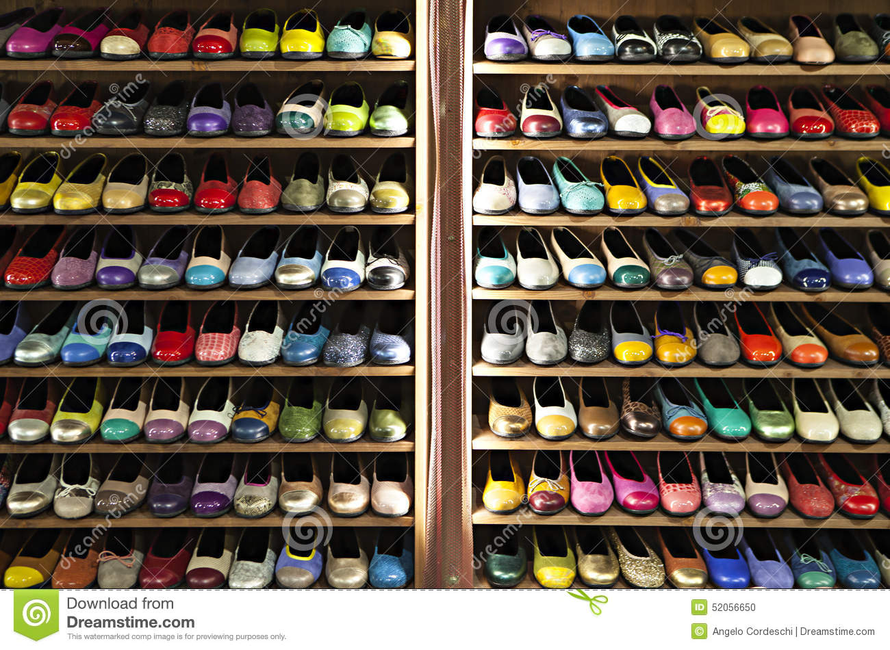 Stock Colorful Ballerinas Shoes Shelves Store Stock Photo Image 52056650