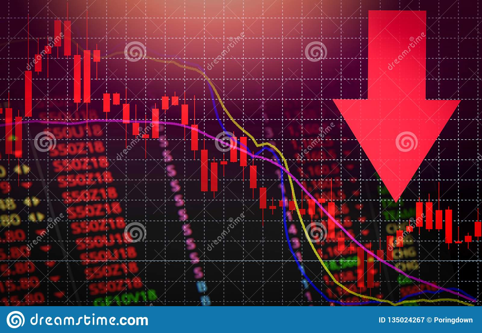 Stock Crisis Red Market Price Arrow Down Chart Fall / Stock Exchange Market Analysis Or Forex ...