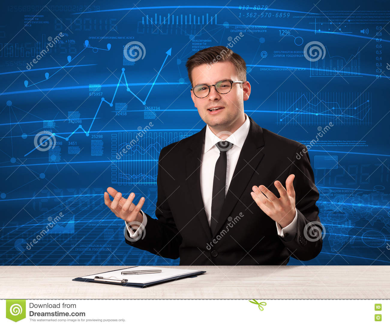 Stock data analyst in studio giving adivce on blue chart background