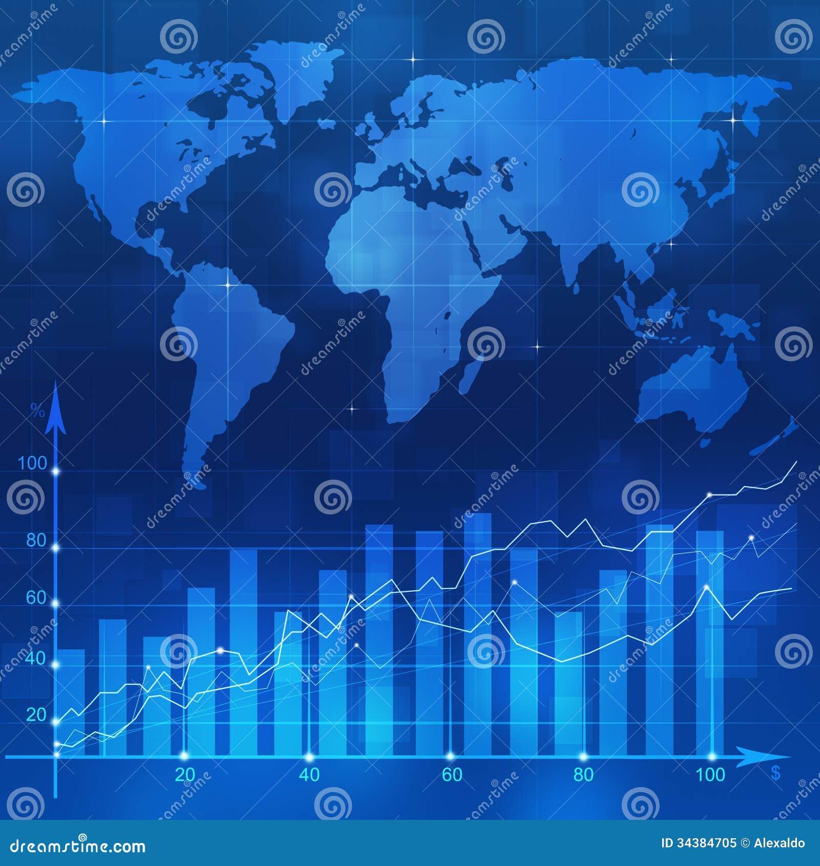 Finance Background: Stock Diagram Blue Backgorund Royalty Free Stock Photo