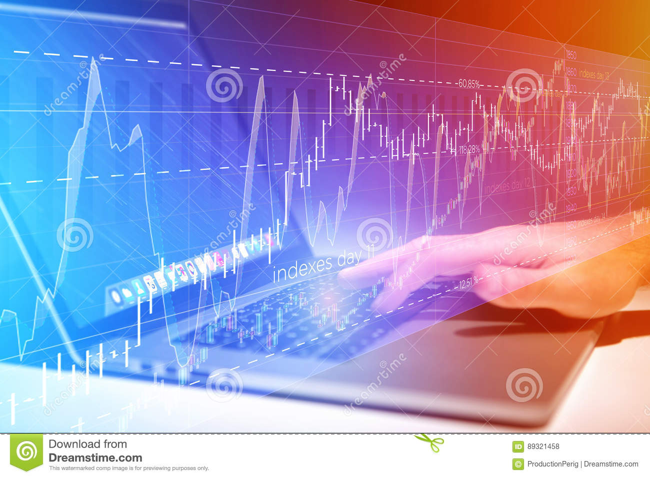 Stock exchange trading data information going out the computer o
