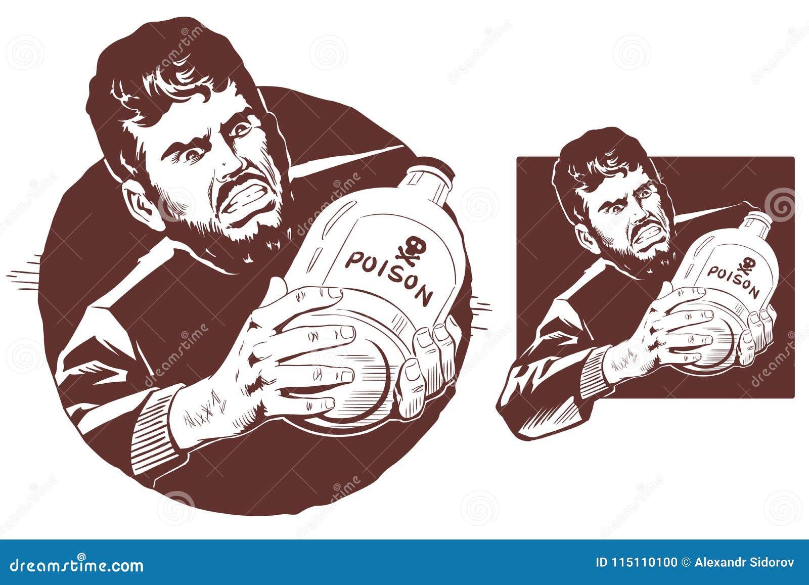 Man with bottle of poison. Stock illustration.