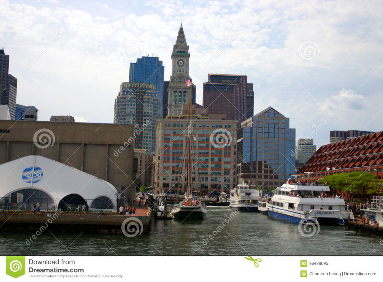 Stock image of Boston skyline, Inner Harbor, USA