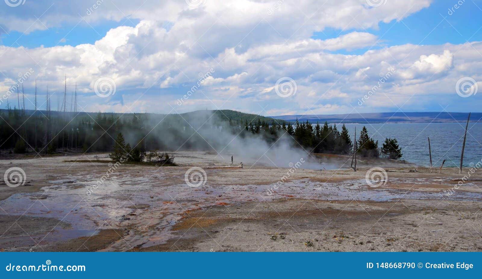 Stock image of West Thumb Geyser Basin, Yellowstone National Park, USA