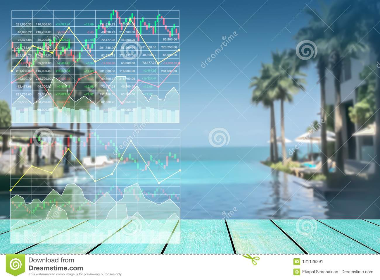 Stock index growth shown by graph and chart.