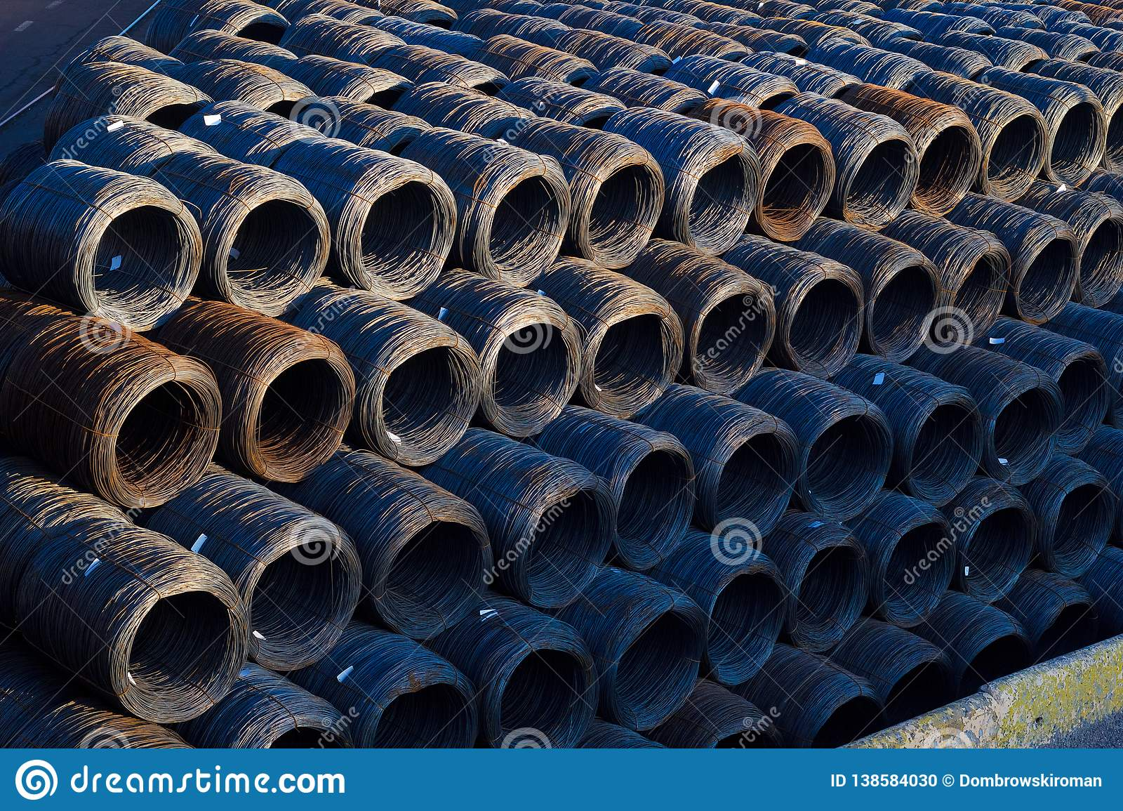 Stock of Industrial wire rolls - coil cable fiber optic technology mechanical