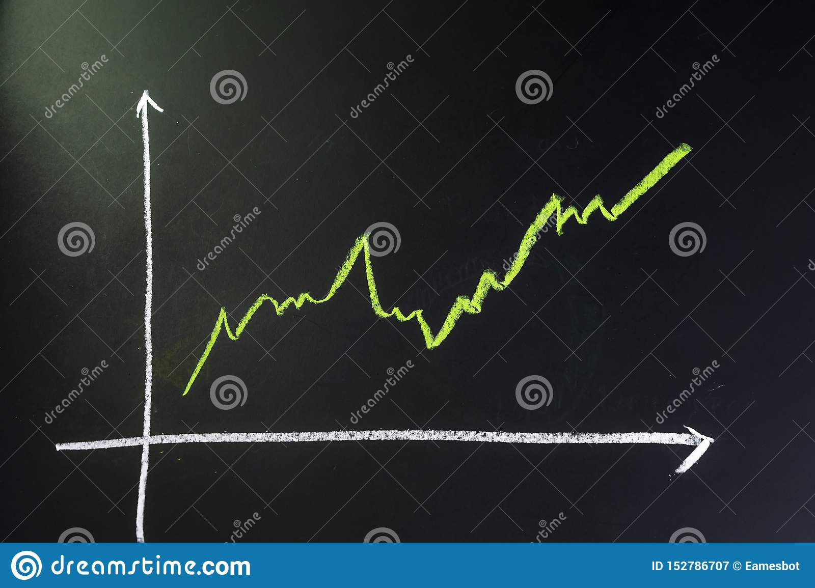 Stock and investment growth, dark black blackboard with chalk drawing green line as stock return growth graph with copy space