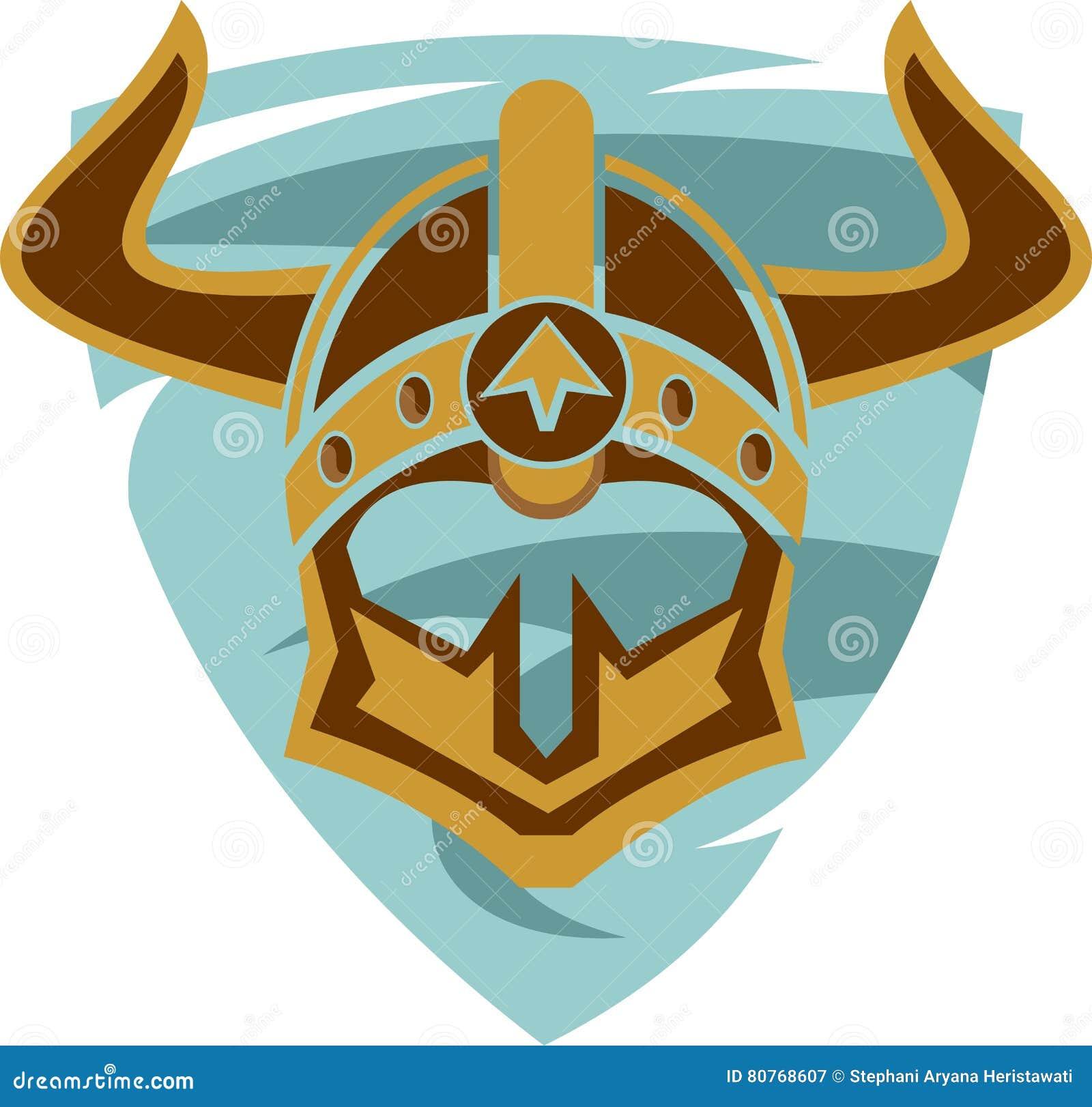 stock logo viking helmet on shield stock vector image 80768607