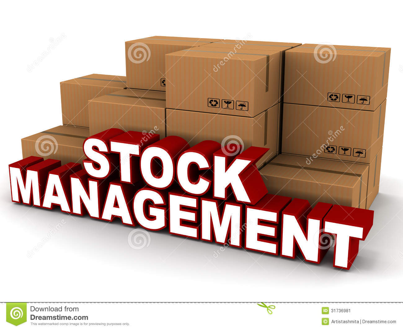 ... management words next to boxes of stock inventory on white background