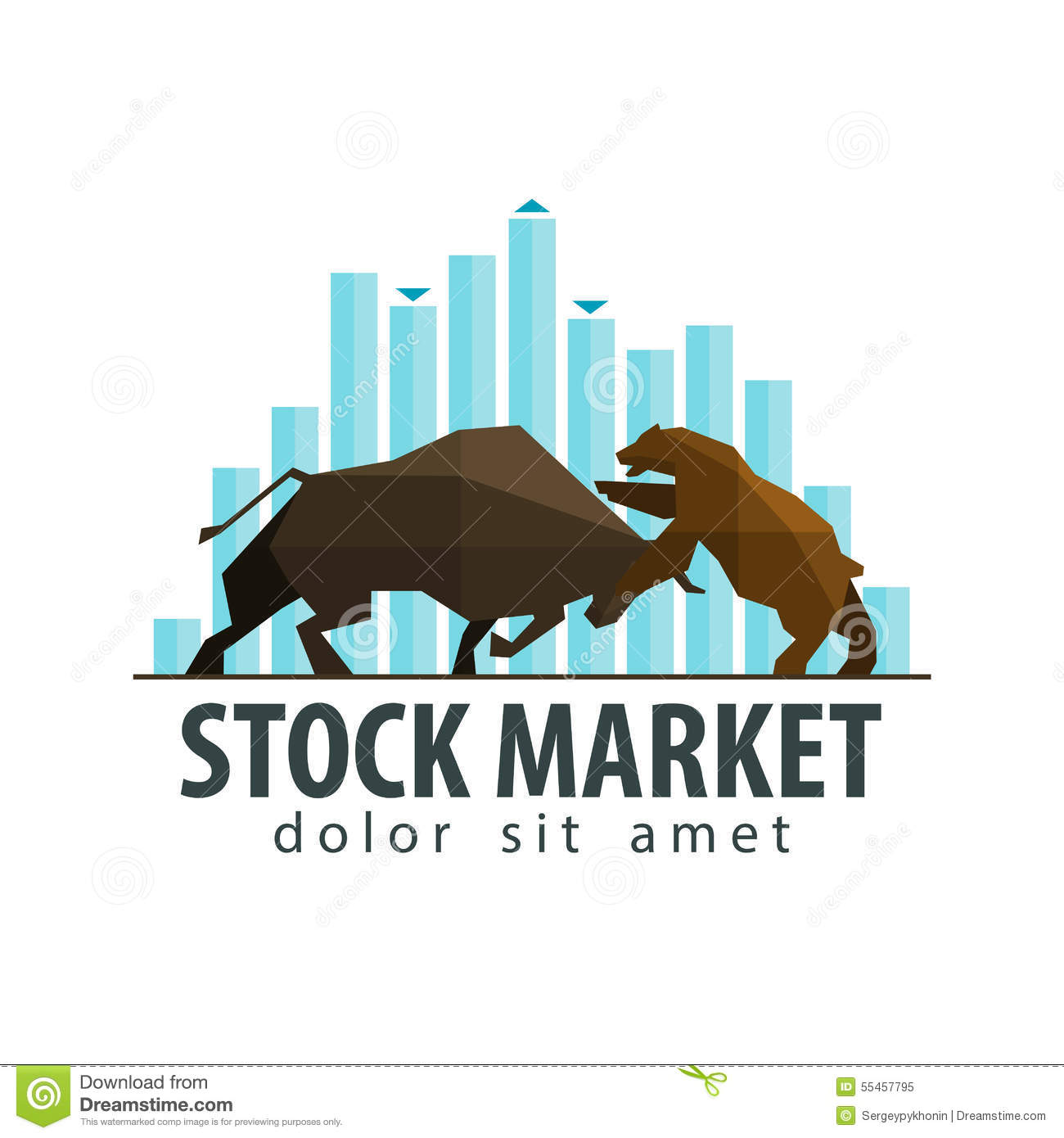 Stock Market Business Vector Logo Design Template Stock Vector