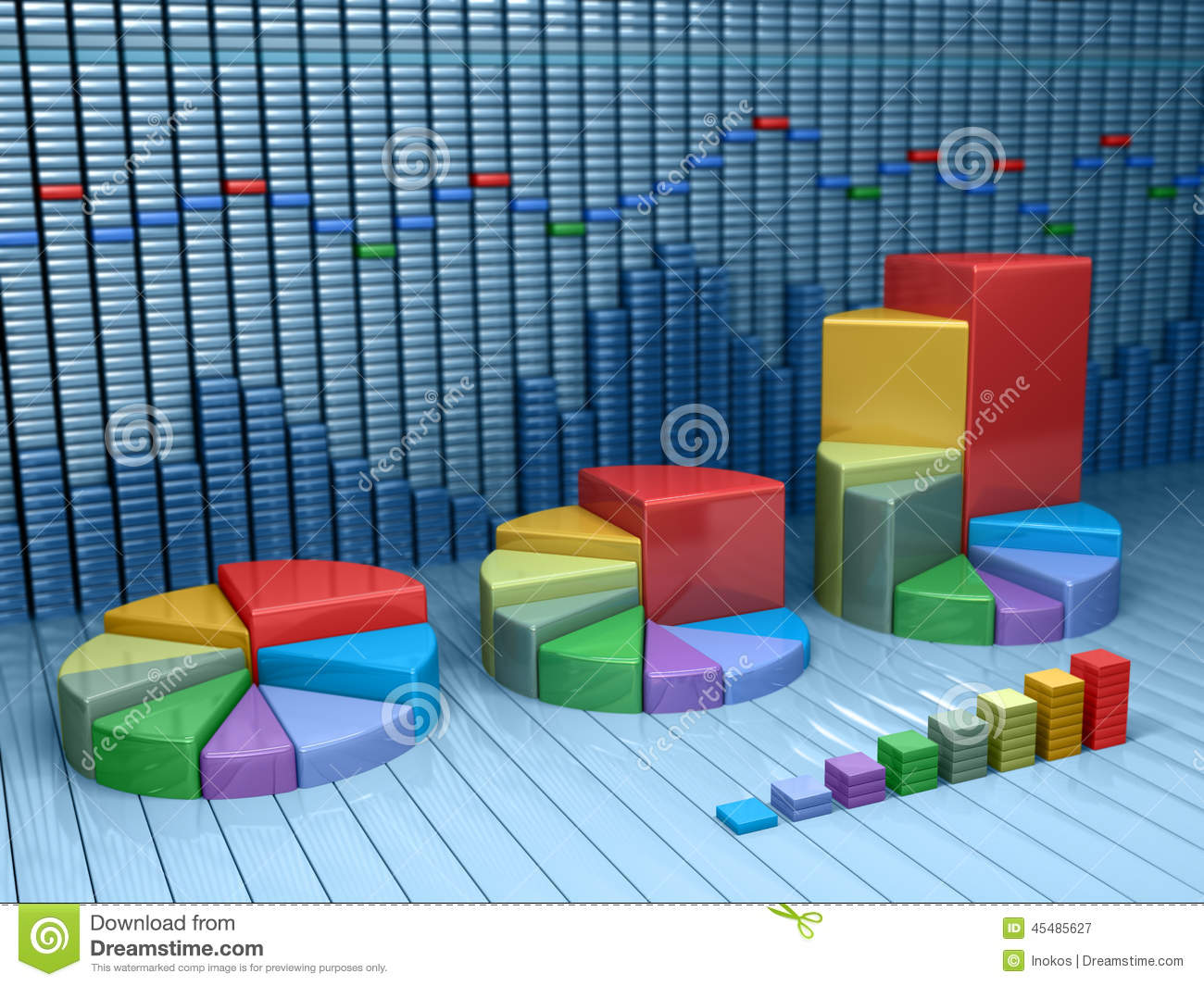 Stock market data with different graphs and charts. Business illustration