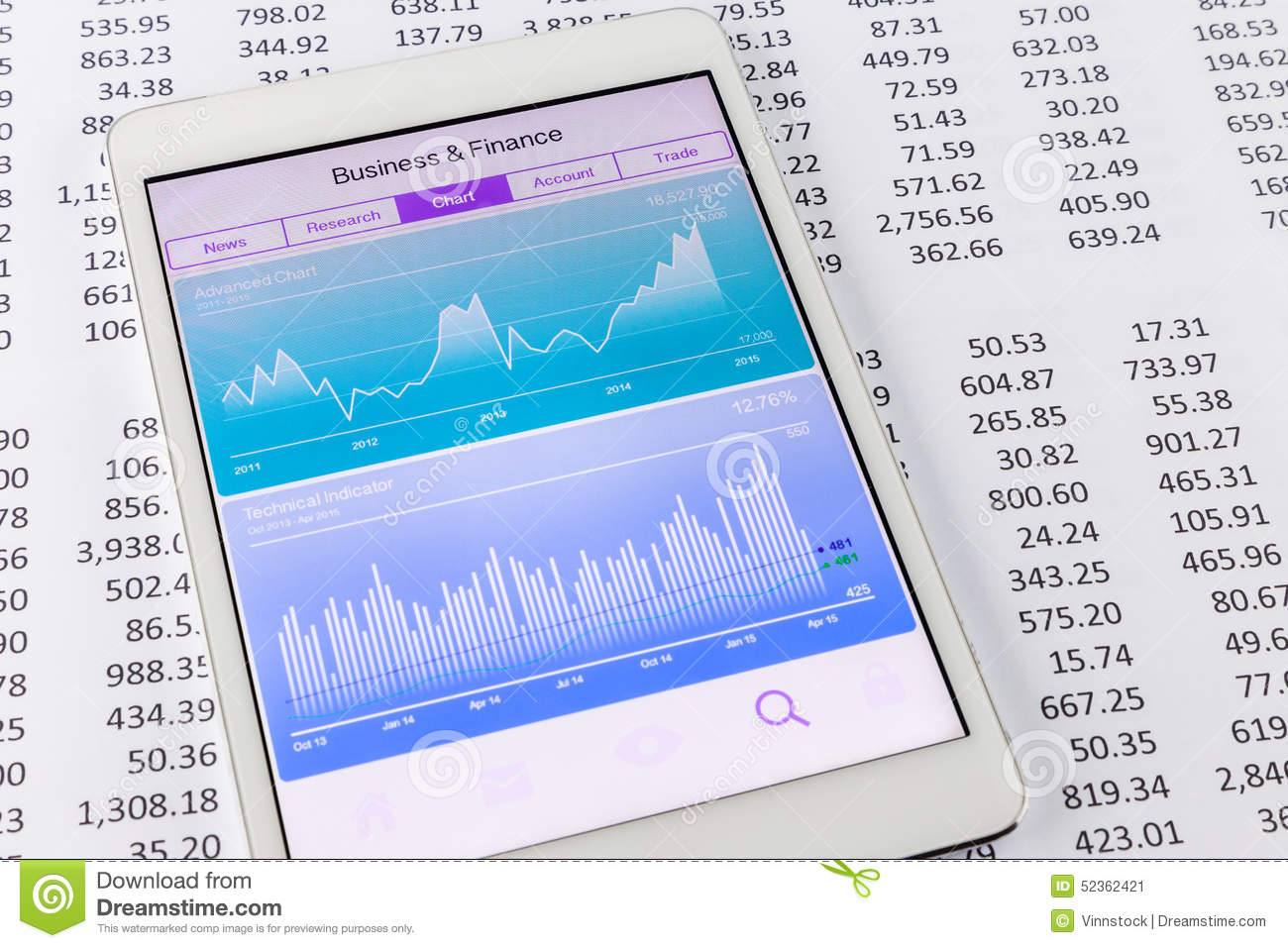 Stock Market Data And Financial Chart Or    Graph    On Tablet Stock Image  Image of puter
