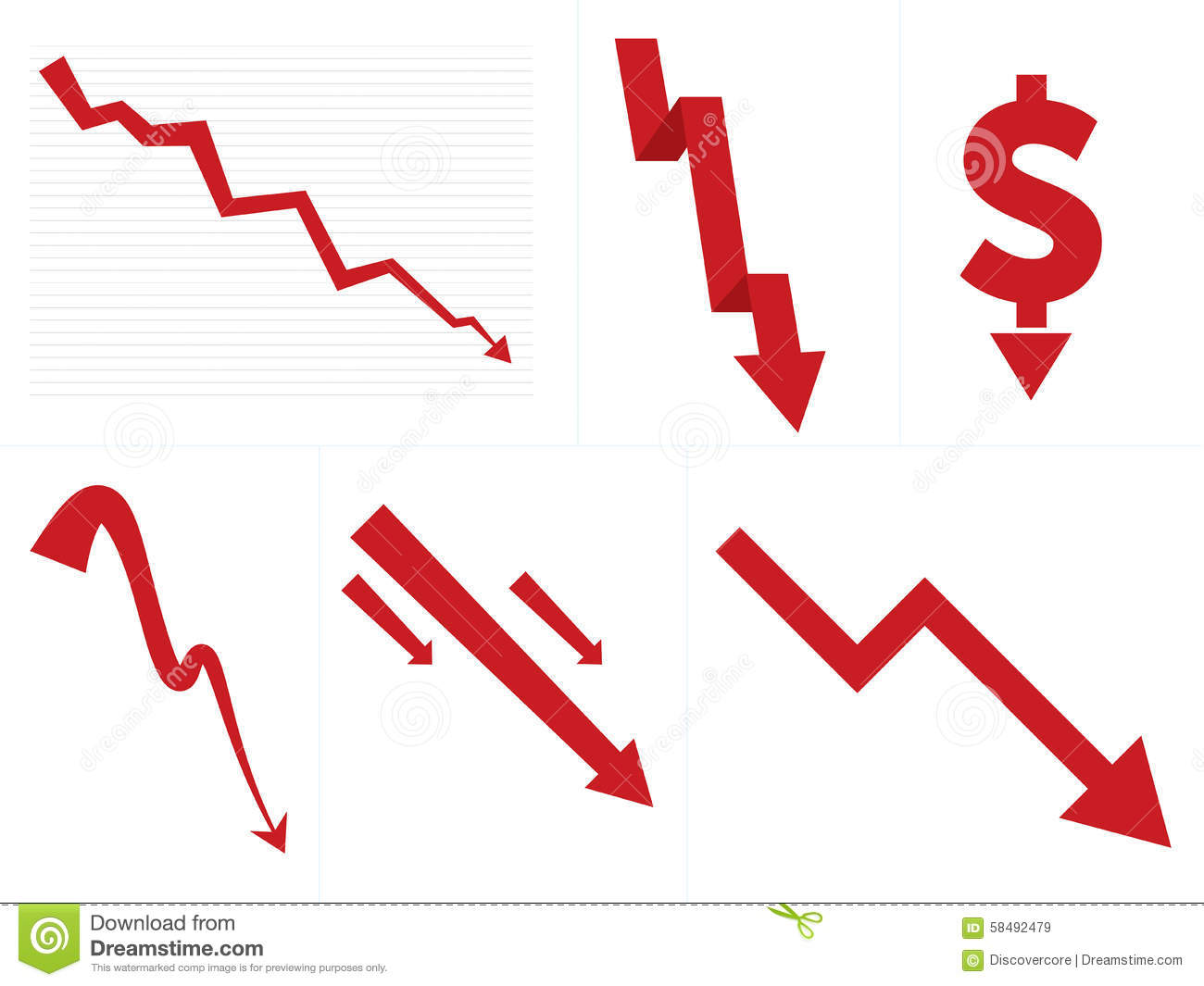 Stock Market Down/Crash Arrows Stock Vector - Image: 58492479
