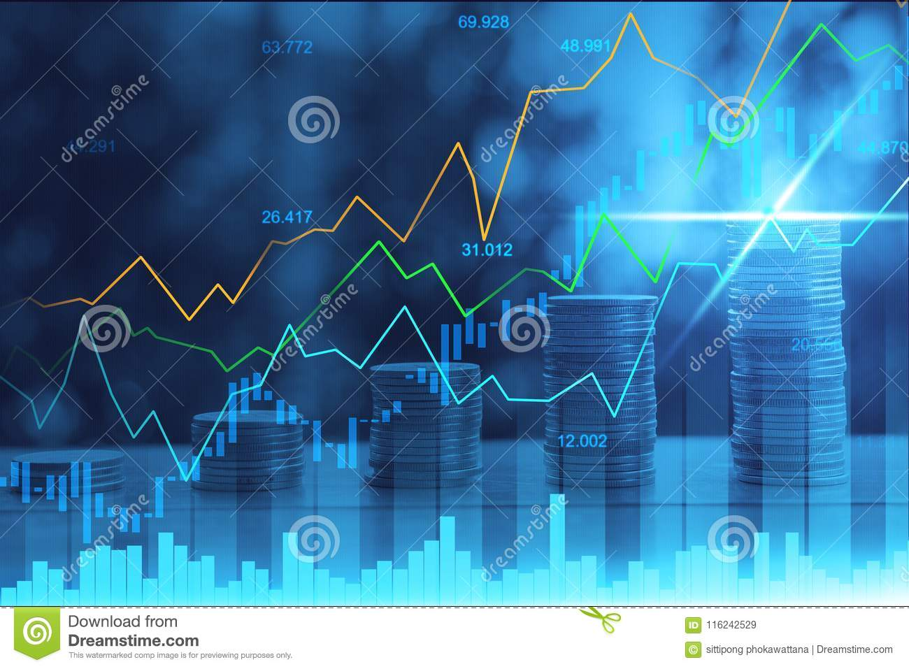 stock market or forex trading graph in graphic double exposure stock