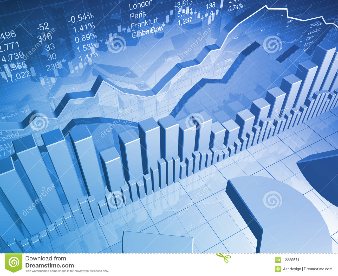 Stock Market Graph With Bar Charts Stock Illustration - Illustration of earnings, commerce: 12228571