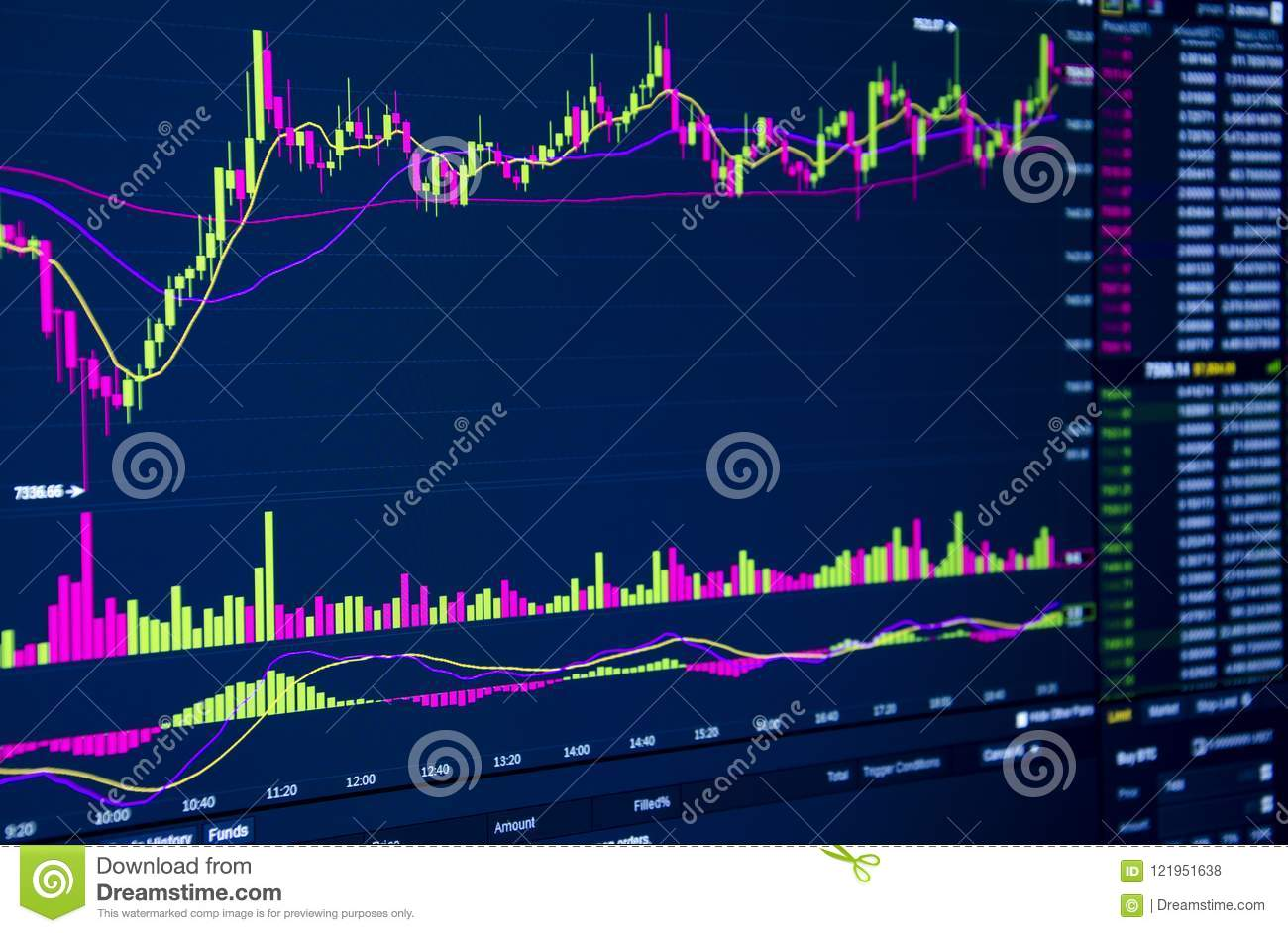 Stock market graph and candlestick chart for financial investment concept.