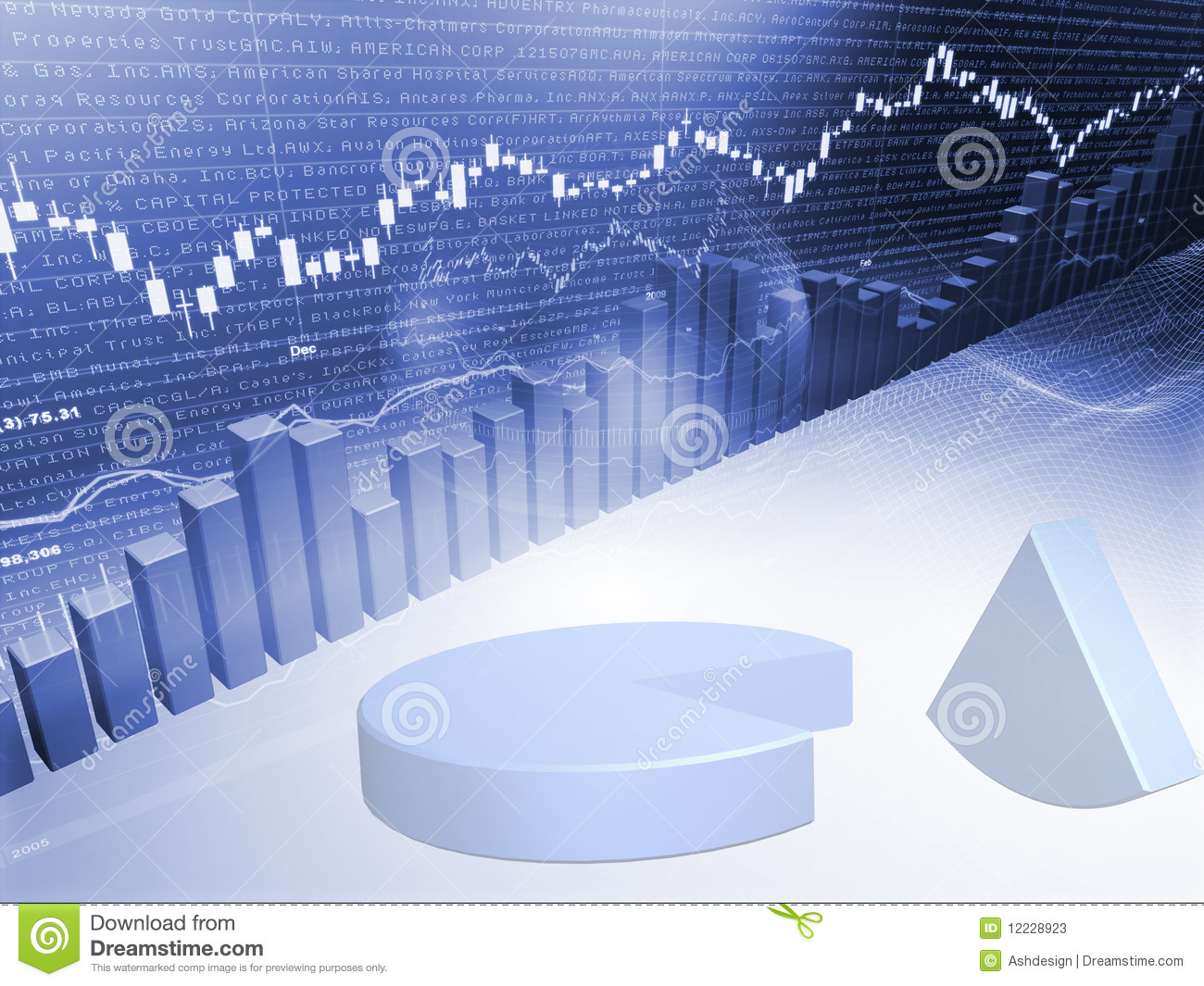 Stock Market Graph With Pie Chart Stock Photos Image