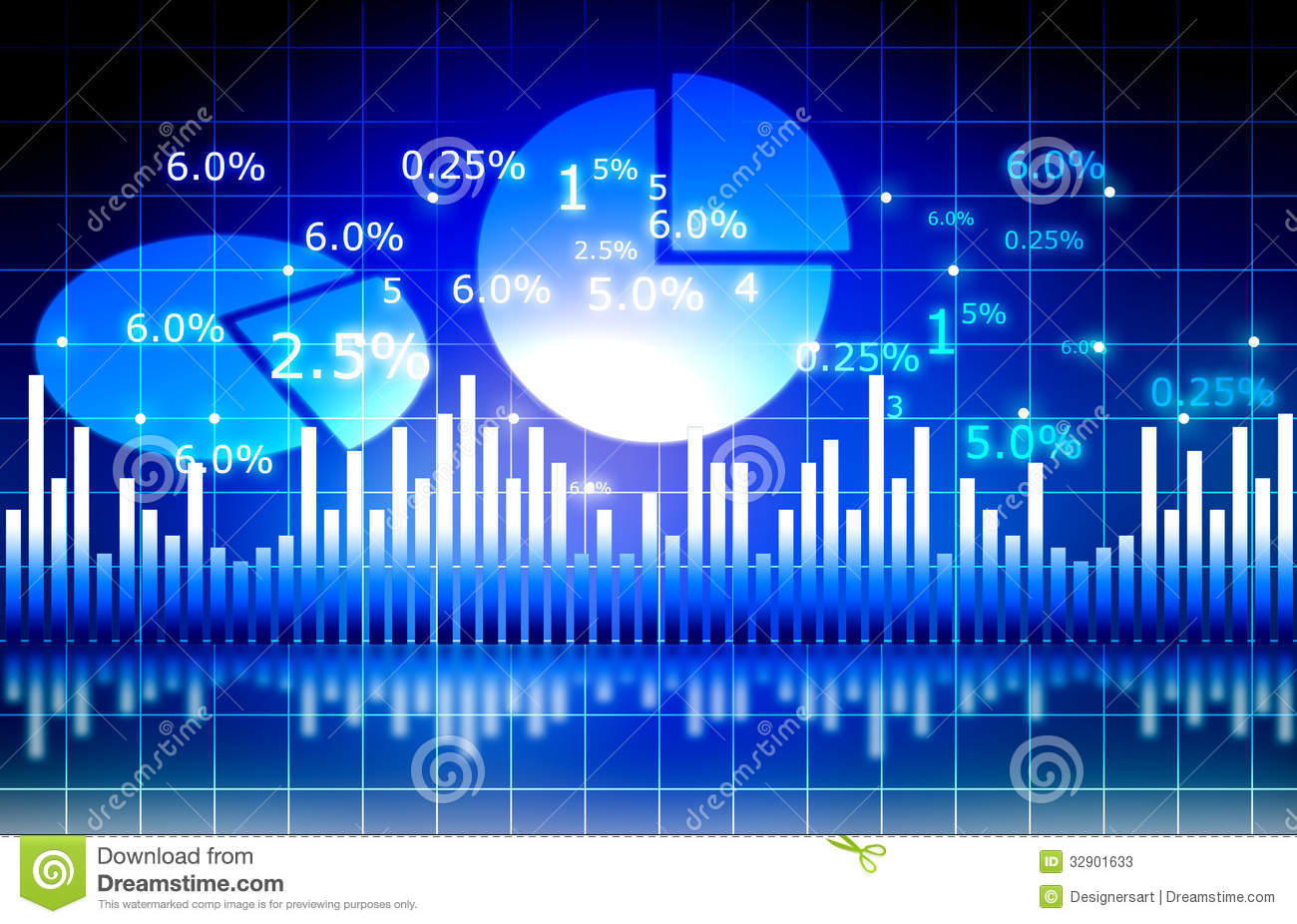 The stock market graph with pie chart stock illustration the stock market graph with pie chart nvjuhfo Choice Image