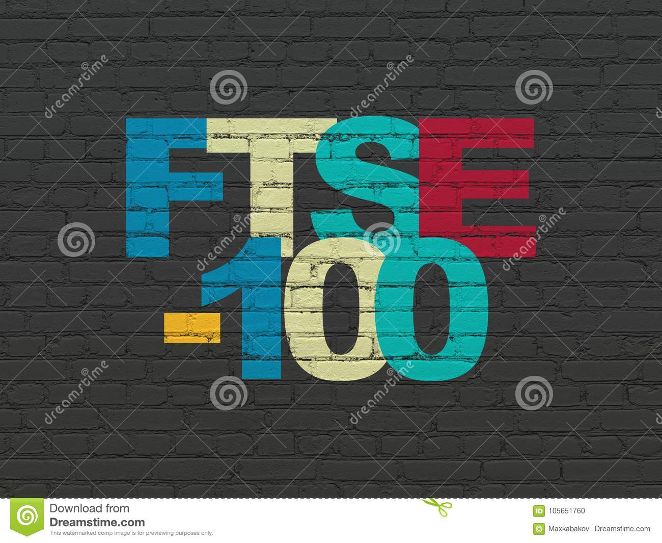 Stock Market Indexes Concept Ftse 100 On Wall Background Stock