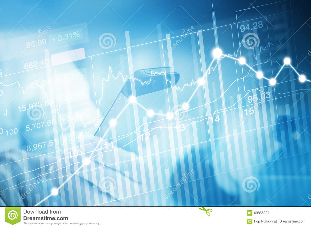 Stock market investment trading, candle stick graph chart