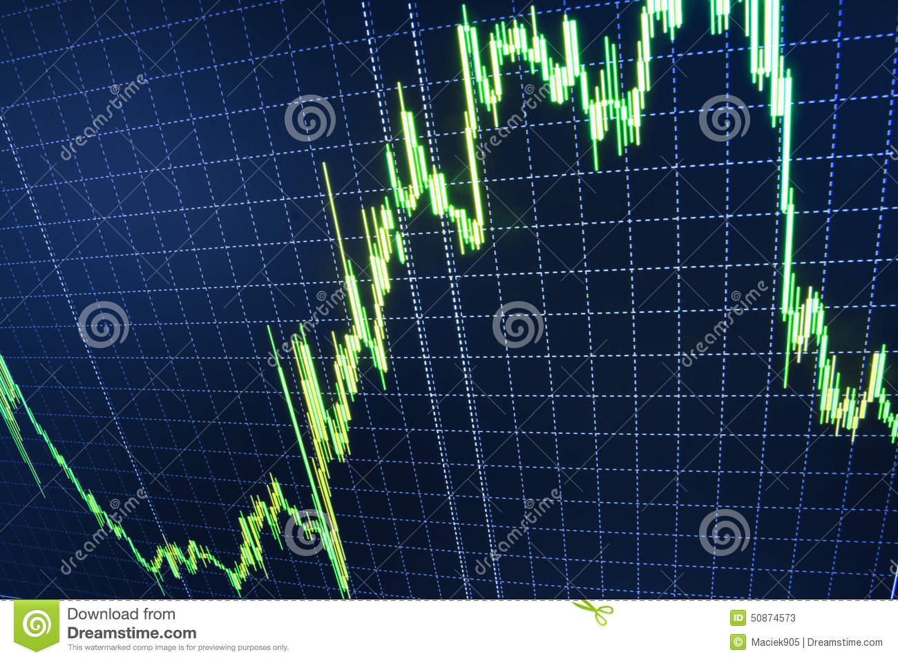 Stock market quotes graph.