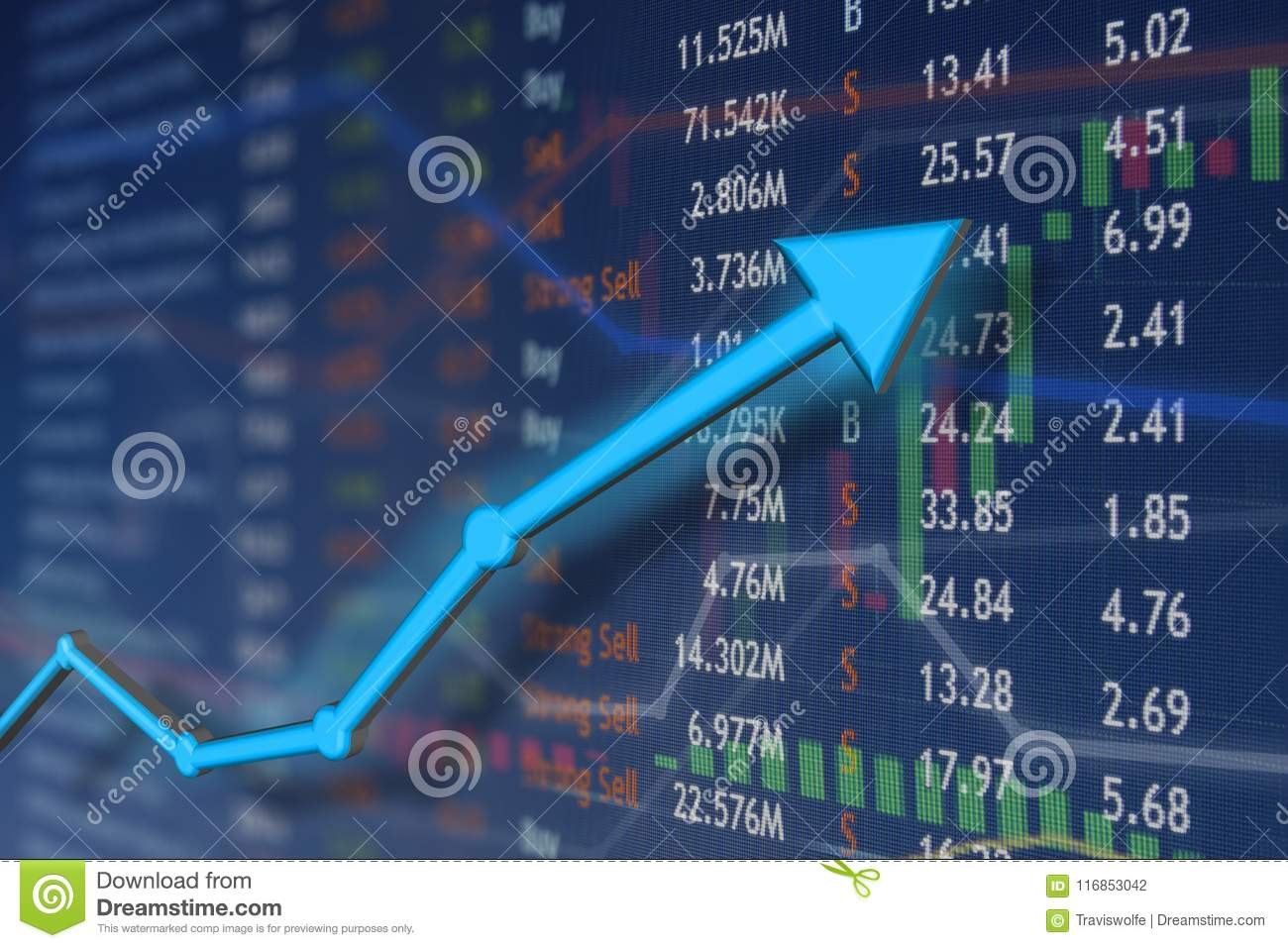 Stock market rise with blue arrow and faded candlestick charts. Winning and success emotion and happiness.