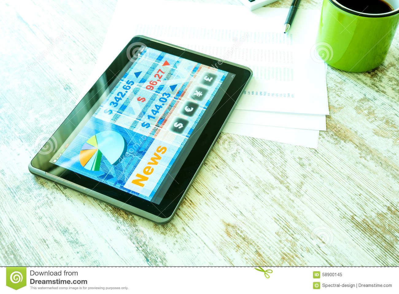 Stock Market Trading App On A Tablet PC Stock Photo