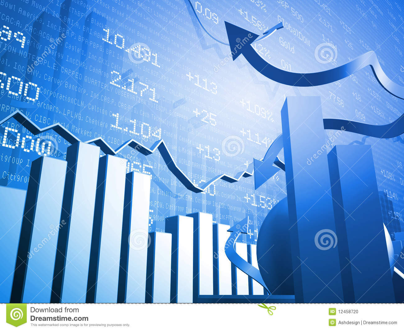 Stock Market Up And Down Arrows Stock Illustration - Illustration of money, management: 12458720