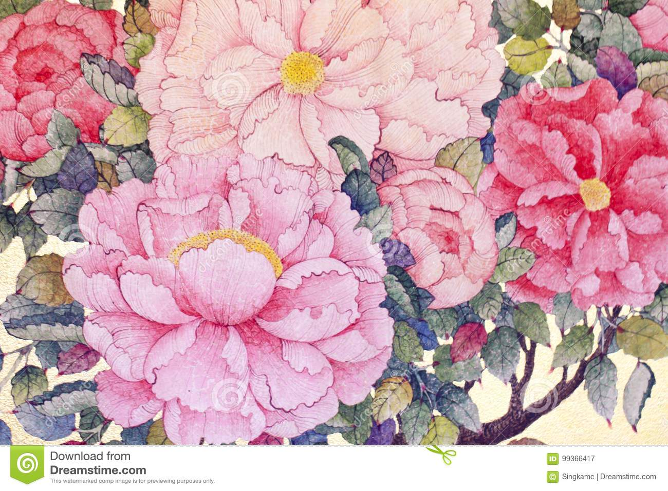 Stock Photo Silk Floral Fabric With Red Rose Flowers On A Beig