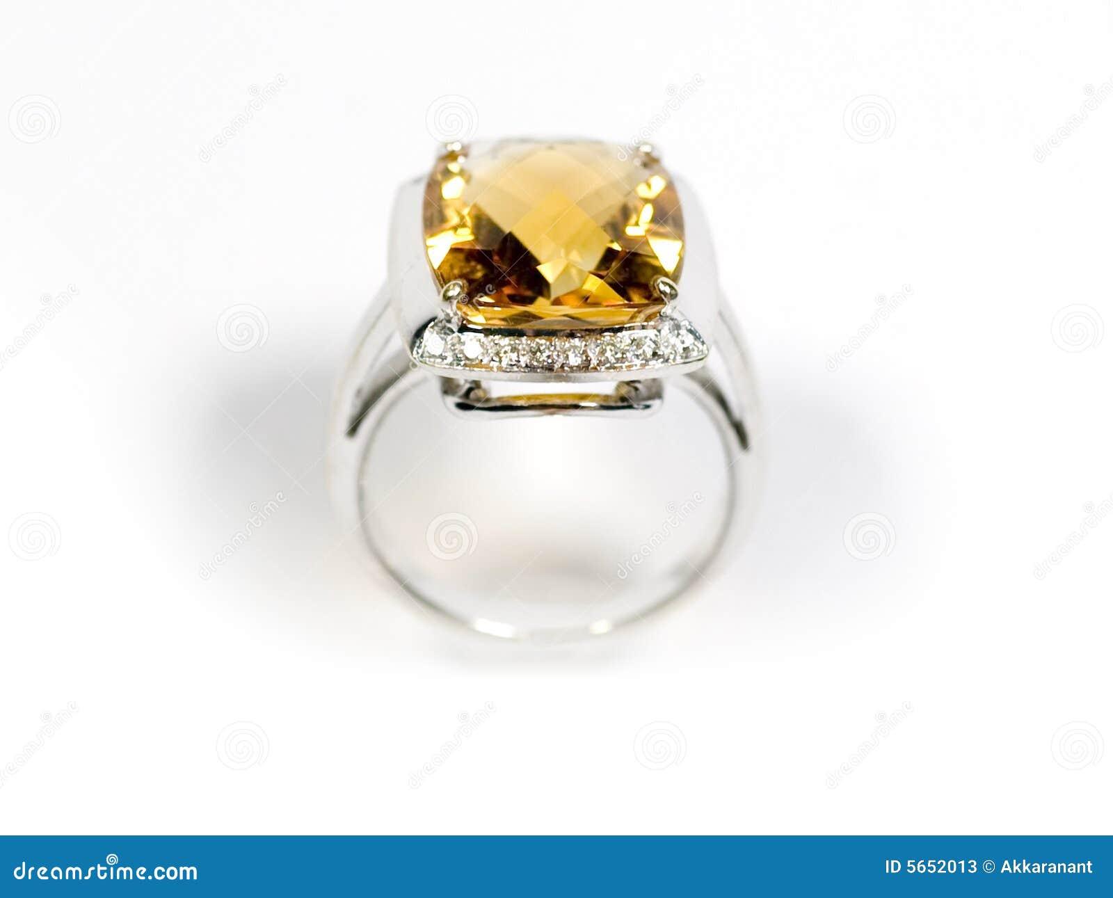 Stock Photo Yellow Sapphire White Gold Ring Stock Image