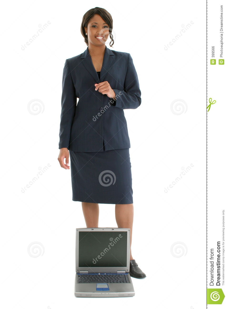 Stock Photography: Business Woman Behind Open Laptop