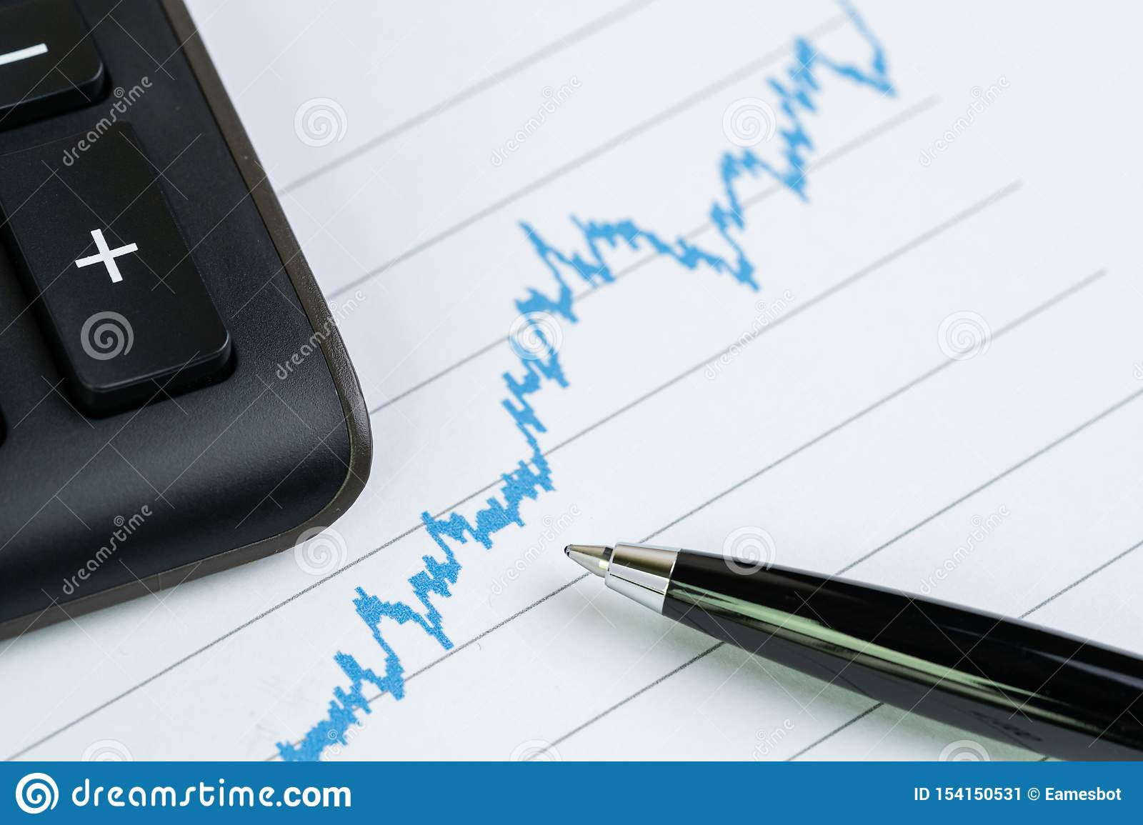 Stock price growth chart with calculator and pen using as financial analysis, stock market report or information for investment