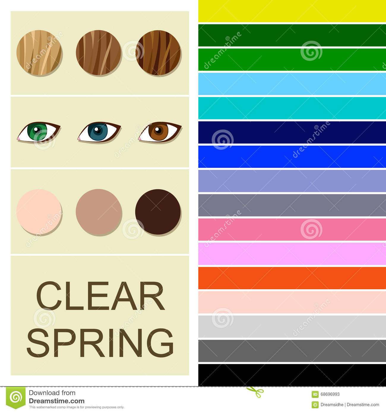 Stock Seasonal Color Analysis Palette For Clear Spring
