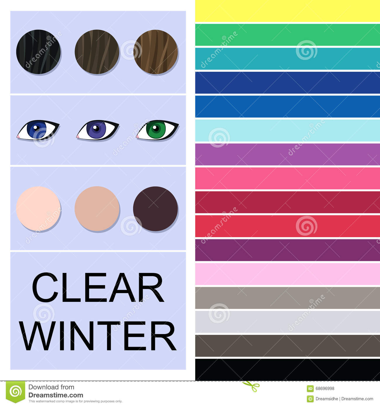 Stock Seasonal Color Analysis Palette For Clear Winter