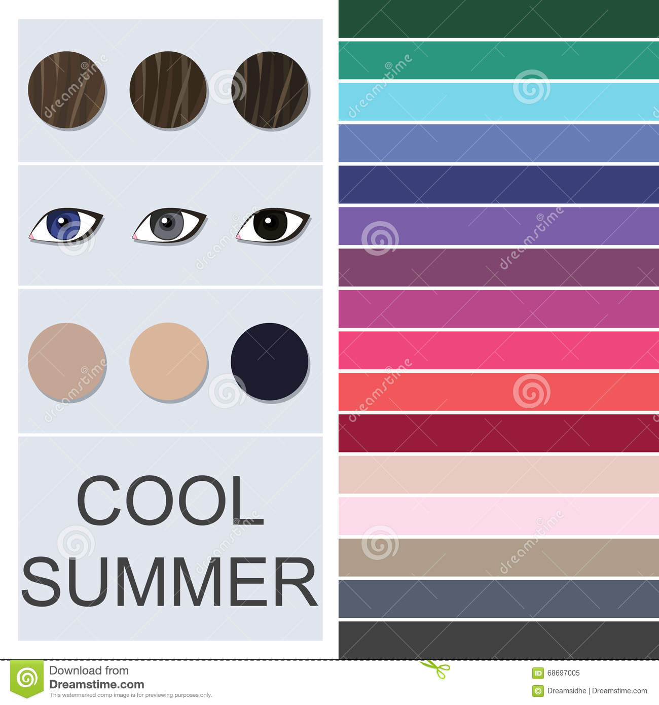 Stock Seasonal Color Analysis Palette For Cool Summer Type