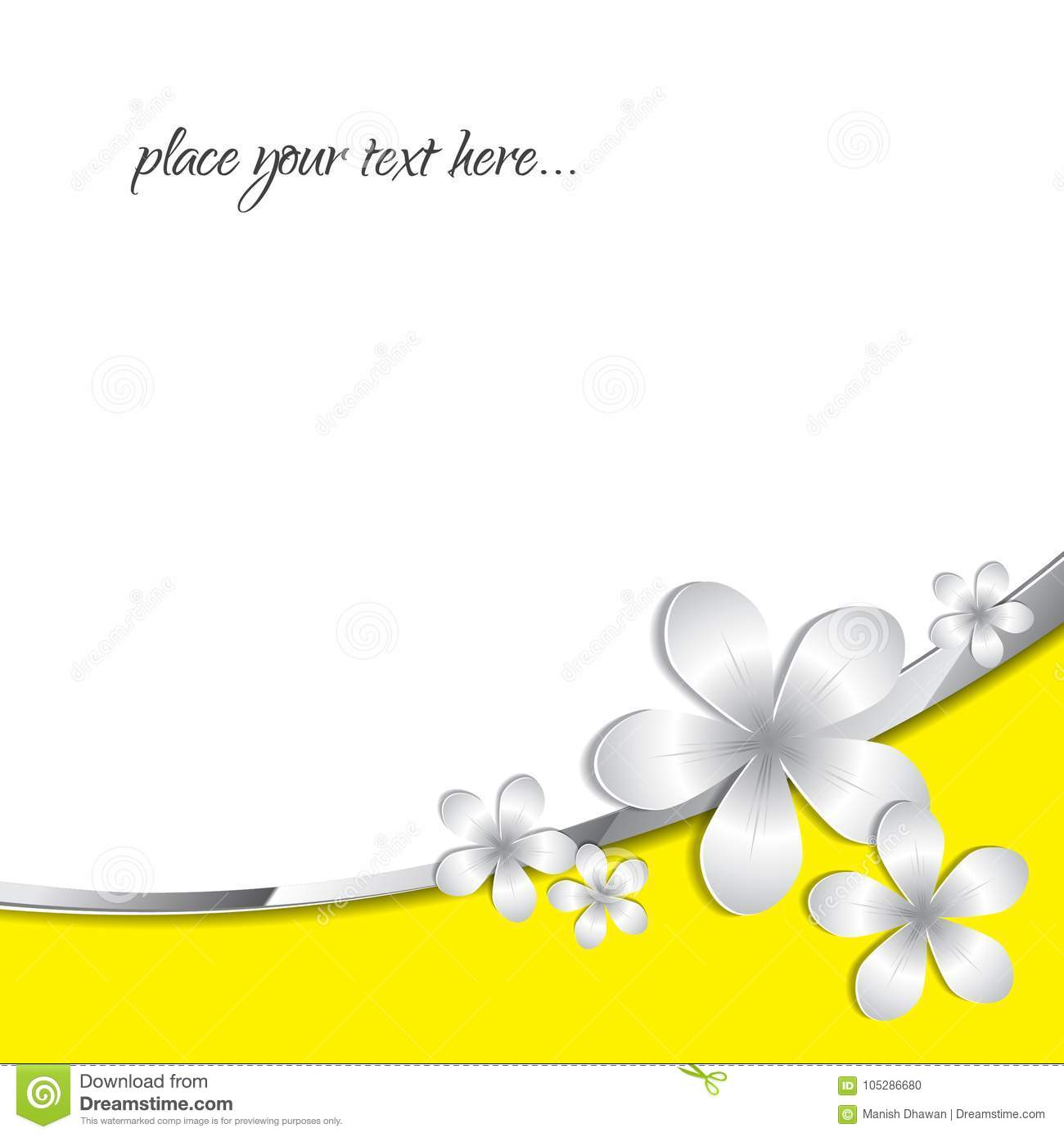 Stock Vector Abstract 3d Paper Flower Pattern Yellow Background