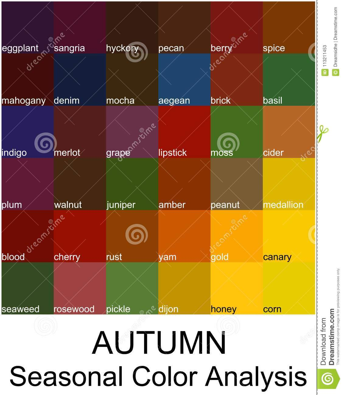 Stock Vector Color Guide With Names Seasonal Analysis