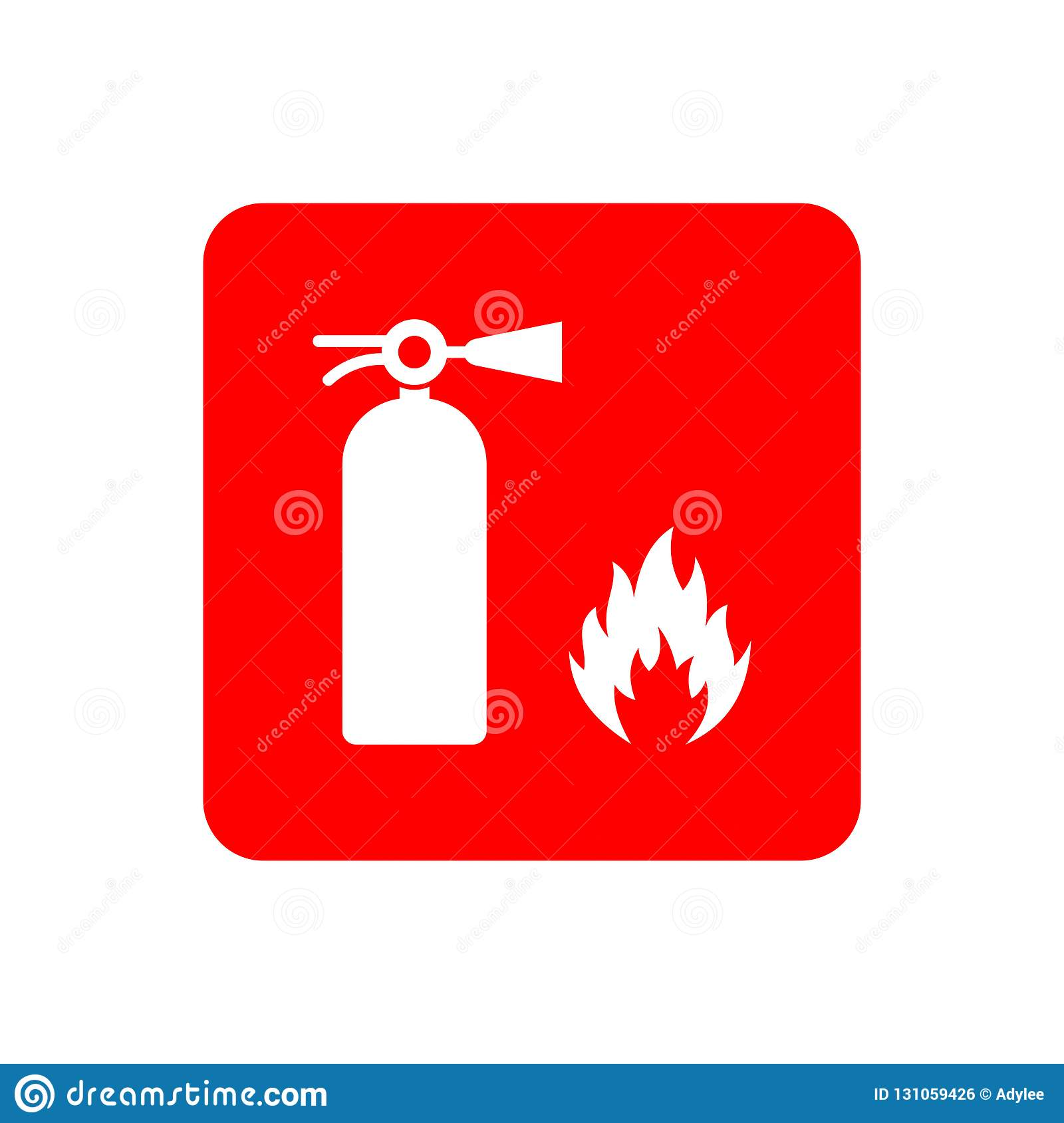 Stock Vector Drawing Of A Red Fire Extinguisher On White